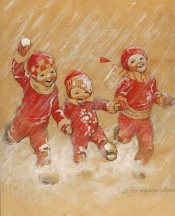 Children Playing in the Snow- SOLD
