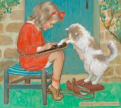 A Girl with a Cat, Good Housekeeping Cover- SOLD