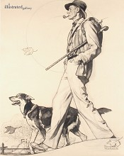 Hiking with Dog, Saturday Evening Post Cover Study
