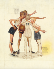 Study for 'Four Sporting Boys: Basketball' Brown & Bigelow Calendar, SOLD