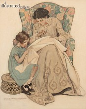 The Sewing Lesson, Collier's Magazine Cover- SOLD