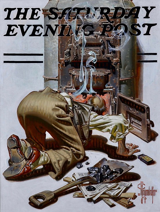 Stoking the Furnace, Saturday Evening Post Cover, 1938