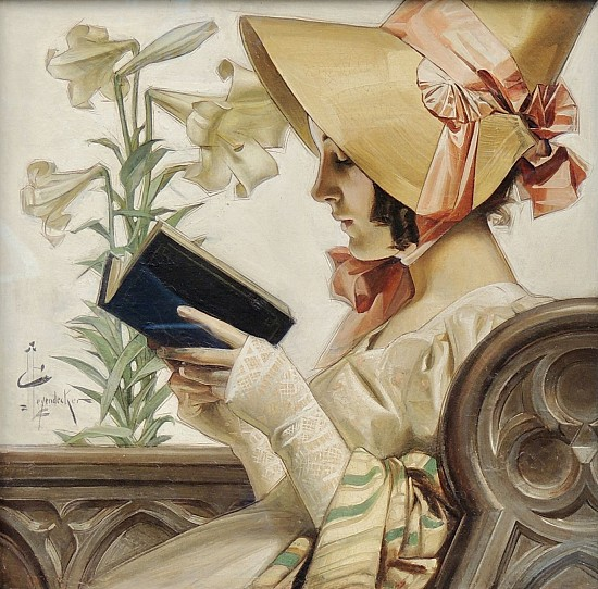Bonneted Lady in Church, Easter Saturday Evening Post Cover