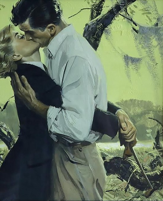 Man and Woman Kissing in Swamp