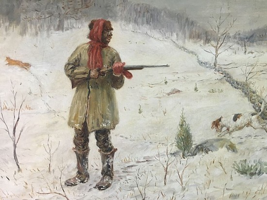 African American Man Hunting in the Snow