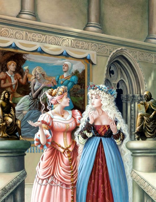 Millie and Repunzel, Xanth Calendar Illustration