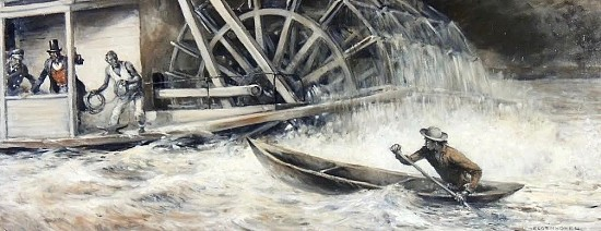 """Caught in the Undercurrent of the Paddlewheel of a Steamboat"""