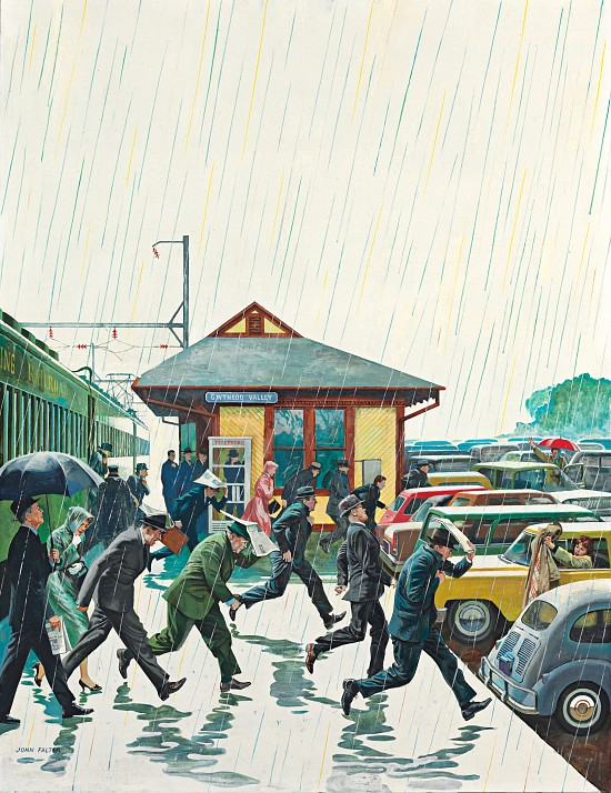 Commuters in the Rain, Post Cover