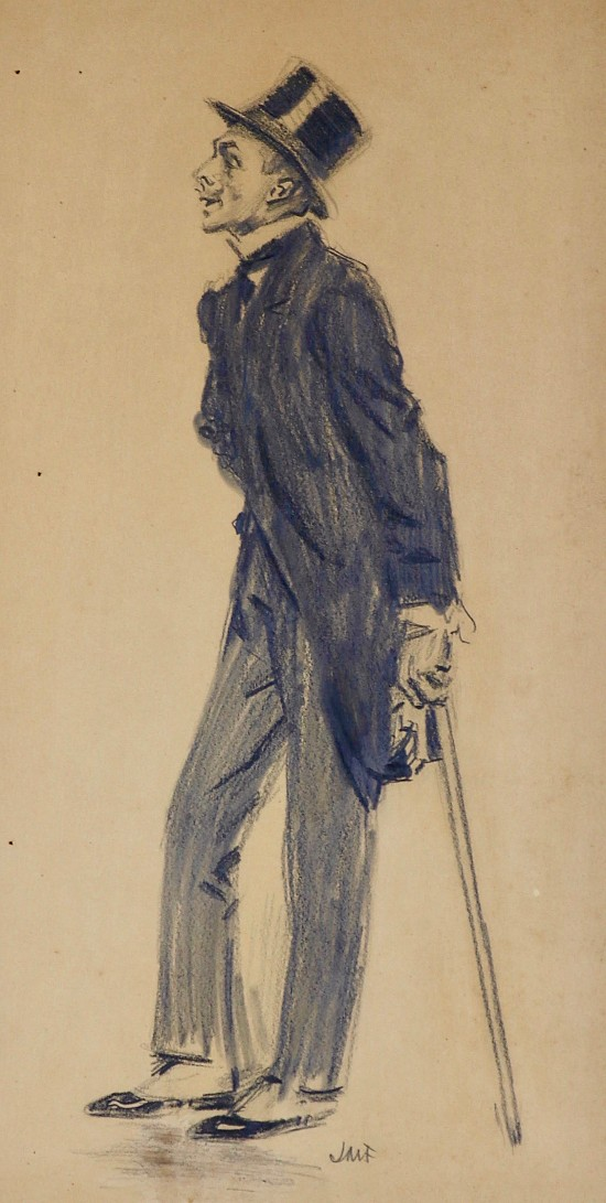 Man with Cane and Top Hat