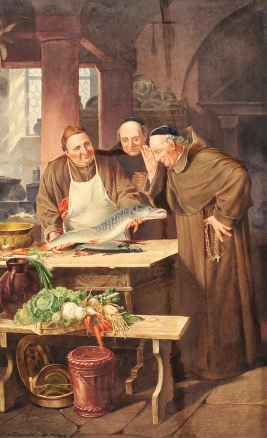 Three Religious Men with Fish