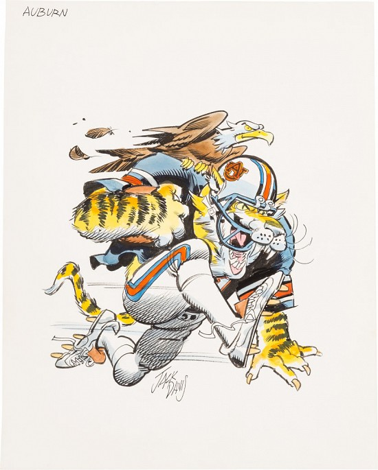 Auburn University Tigers Football Illustration; Original Art