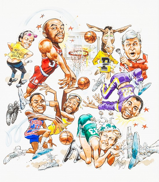 Basketball Superstars Comic Illustration; Paperback Cover