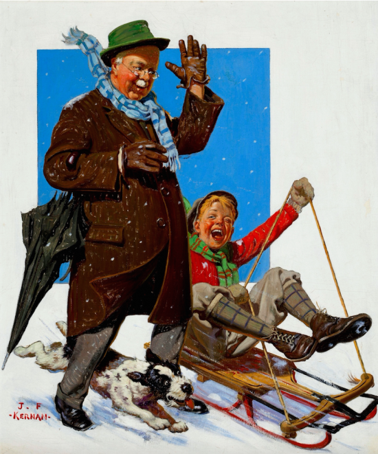 Sledding, Capper's Farmer Magazine Cover