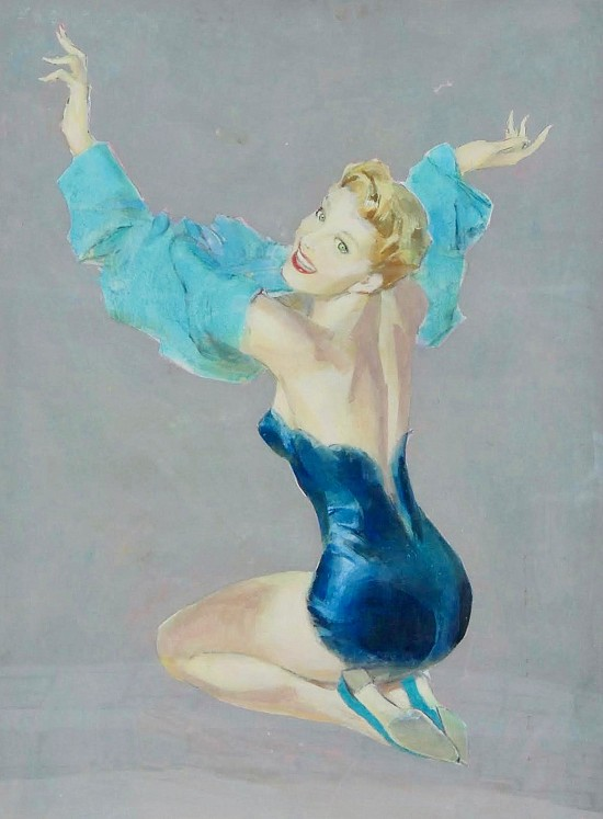 Depicting a Woman in Blue Lingerie with Her Arms in a Dress Overhead