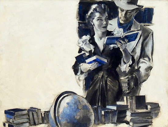 A Woman Among Books with a Man in Fedora Behind Her