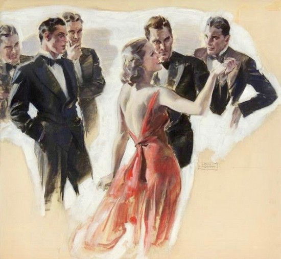 A Woman in Red Dress Dancing Among a Number of Tuxedoed Men