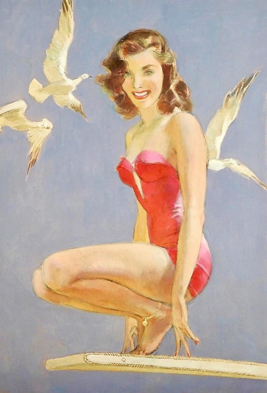 Woman in Red Swimsuit Perched on Diving Board, Three White Doves Around Her