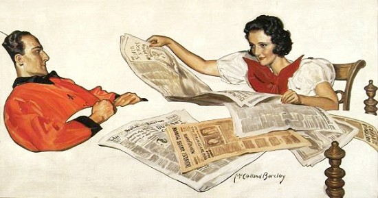 Woman Reading Newspaper to Convalescing Man