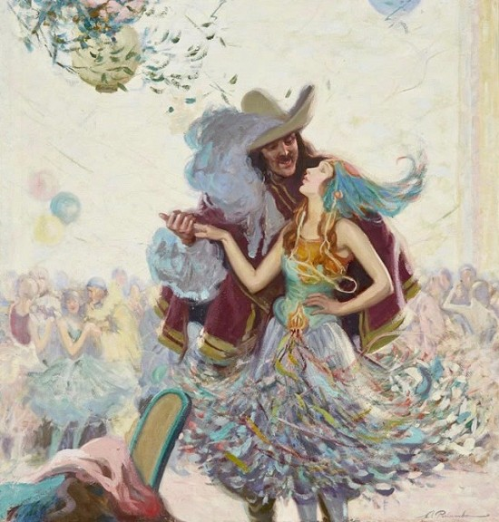 Couple Dancing at Masquerade Ball