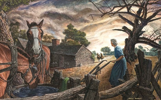 A Woman and Horses Outside a Farmhouse