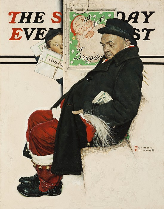 Santa on Train, Saturday Evening Post Cover