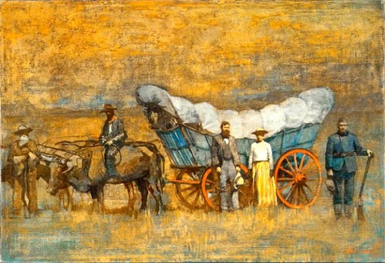 Pioneers with Covered Wagon