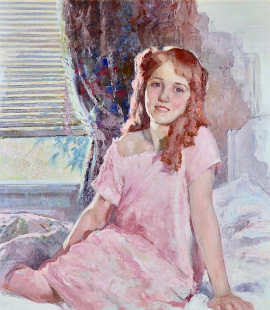 Girl in Pink Robe Sitting on a Bed