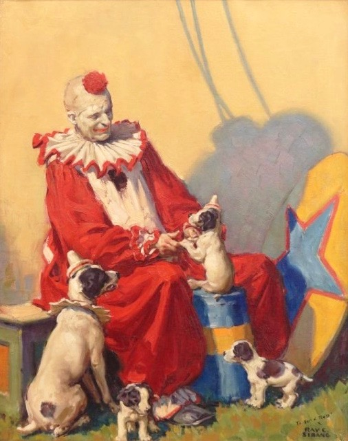 Circus Clown with dogs