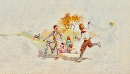 Kids Flying Kite, Magazine Advertisement, Cream of Wheat, 1926