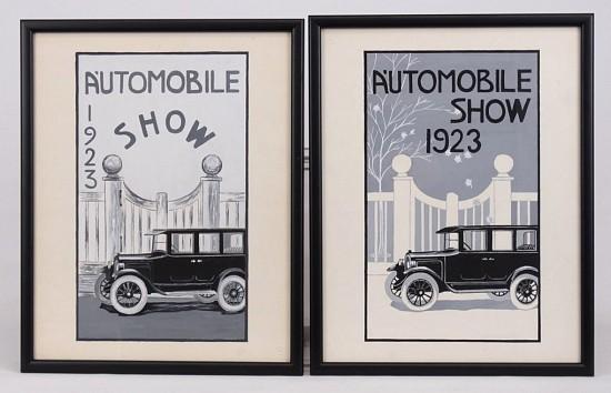 1923 Automobile Show Original Illustrations
