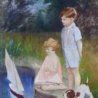 Young Boy and Girl playing with Boat