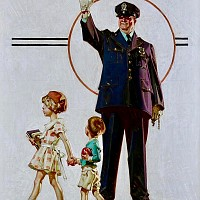 Policeman and School Children, Post Cover