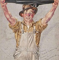 Farmer in Overalls Stretching a Black Sock, Interwoven Socks Ad