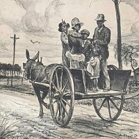 Family on Donkey Cart
