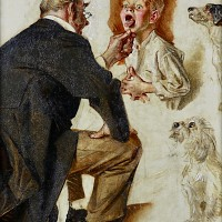 Study for Post Cover, Doctor Looking into Childs Mouth