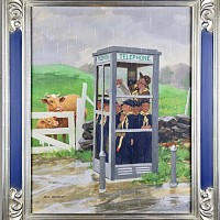 Cub Scouts in Phone Booth