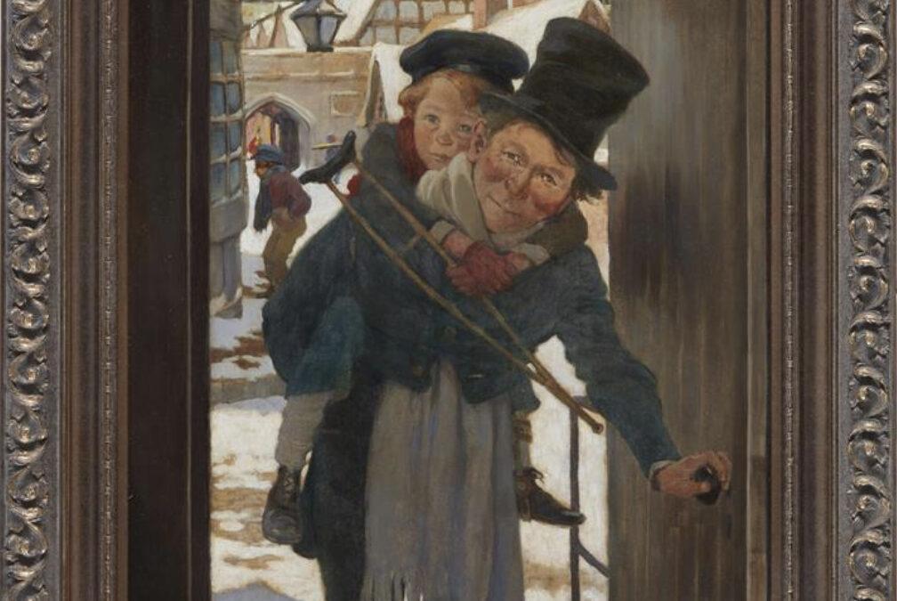 Tiny Tim and Bob Cratchit on Christmas Day, by Jessie Willcox Smith