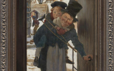 Tiny Tim and Bob Cratchit on Christmas Day, by Jessie Willcox Smith